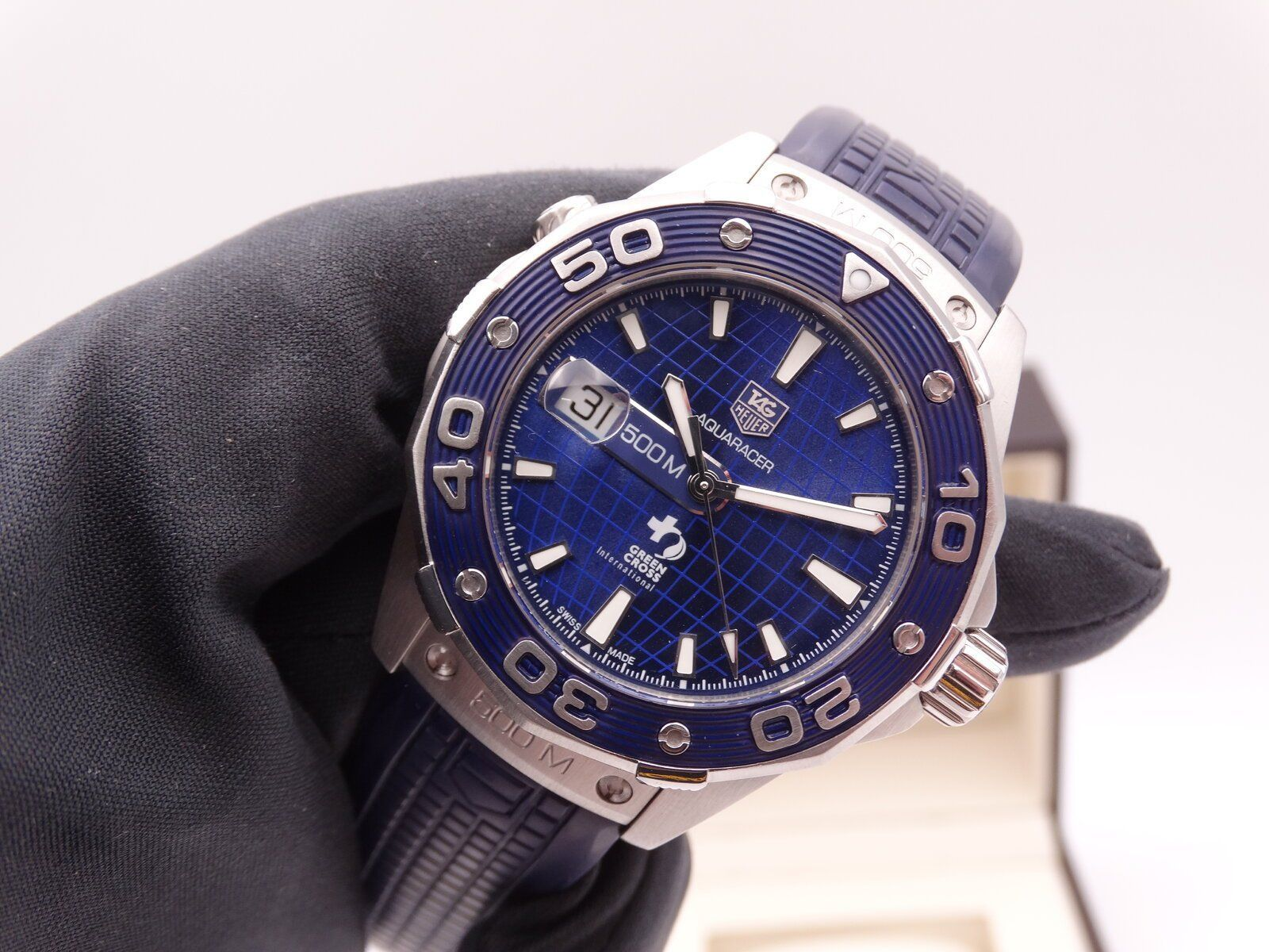Tag Heuer Aquaracer 500 Dicaprio Green cross Blue Limited 01273.JPG